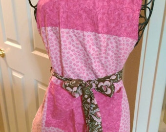 Reversible Pink Apron With Butterflies, White Ruffle, Pink and Brown Paisley Tie