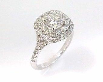 1.05ct Diamond engagement ring, Halo diamond engagement ring, Cushion engagement ring, Halo engagement ring, 18k gold engagement ring