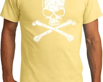 Men's Skull Shirt White Distressed Skull Organic Tee T-Shirt WS-11656-PC50ORG