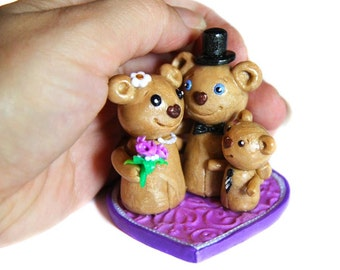 Personalized wedding cake topper, Bears family topper, Bears figurine, Clay figurine wedding topper, Custom family gift, Wedding gift topper
