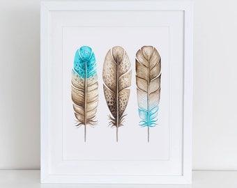 Feathers Art Print, Feathers Watercolor Art Print, Watercolor Wall Art, Instant Download,  Printable Home Decor, Digital Art Print