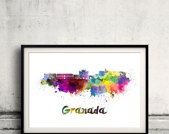 Granada skyline in watercolor over white background with name of city - Poster Wall art Illustration Print - SKU 1878