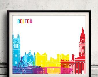 Bolton pop art skyline 8x10 in. to 12x16 in. Fine Art Print Glicee Poster Gift Illustration Pop Art Colorful Landmarks - SKU 1029