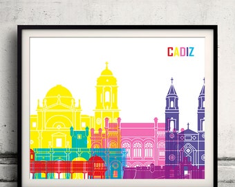 Cadiz pop art skyline 8x10 in. to 12x16 in. Fine Art Print Glicee Poster Gift Illustration Pop Art Colorful Landmarks - SKU 1136