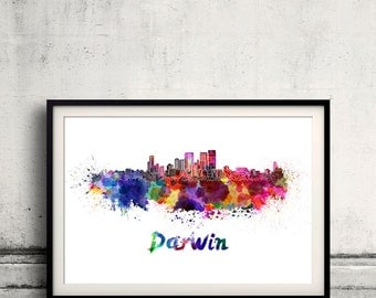 Darwin skyline in watercolor over white background with name of city - Poster Wall art Illustration Print - SKU 1557