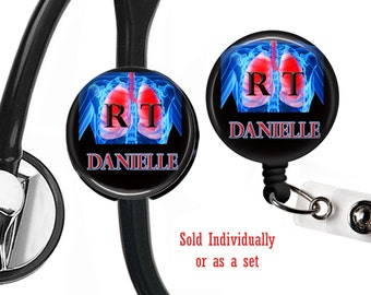 Personalized , R. T. lungs , Retractable Badge reel, Lanyard, Stethoscope ID tag, Respiratory Therapy, Pulmonary