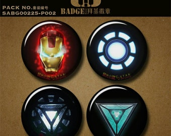 """Ironman inspired button pin magnet 1.5""""/37mm badge The Avengers marvel movie triangle Tonk Star mask powered armor helmet gift souvenir"""