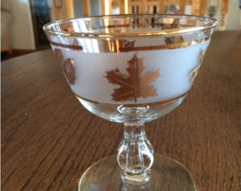 Vintage Libby Gold Leaf Wine Goblets