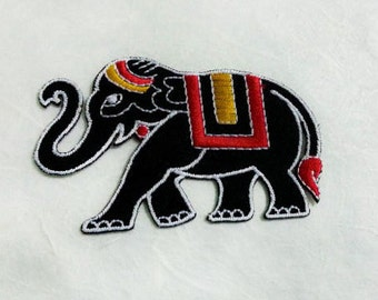 Black Elephant  Iron on Patch(L1) - Thai Elephant Applique Embroidered Iron on Patch - Size 8.1x5.0 cm