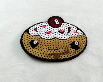 Donut  Sequin Iron on Patch (L) - Sequin Doughnut Glitter,Sparkly Applique Iron on Patch - Size 8.8x6.8 cm