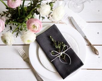Linen napkins - Natural linen napkins Set of 30 - Dark Grey Dinner Napkins - Wedding napkins - Cloth Napkins - Cafe napkins