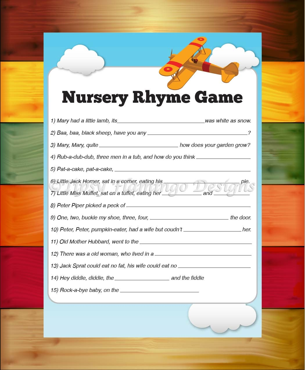 baby shower game nursery rhyme game by tipsyflamingodesigns
