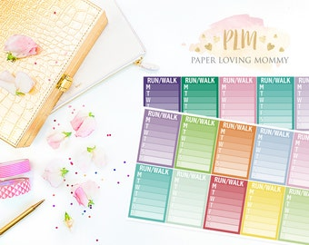 20 Run/Walk Sidebar Stickers | Planner Stickers designed for use with the Erin Condren Life Planner | 1113