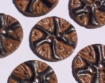 Deeply textured, flame orange, cinnamon & black round circular 1 and 1/8-inch stoneware ceramic buttons