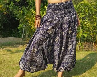 Elephant Pants // Blue Elephant Pants // Women's Elephant Pants // Thai Elephant Pants // Elephant // Elephant Clothing // Elephant Trousers