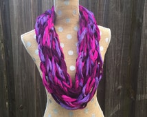 Arm Knit Scarf, Chunky Infinity, Arm Knit Infinity, Purple Scarf, Knit Infinity Scarf, Chunky Scarf, Infinity Sashay Scarf, gift for women