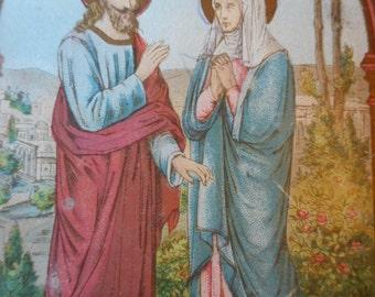 Vintage GERMAN printed Holy card, Jesus Christ and Mary, Unique Holy card, German Holy card, Catholic prayer card, christian cards
