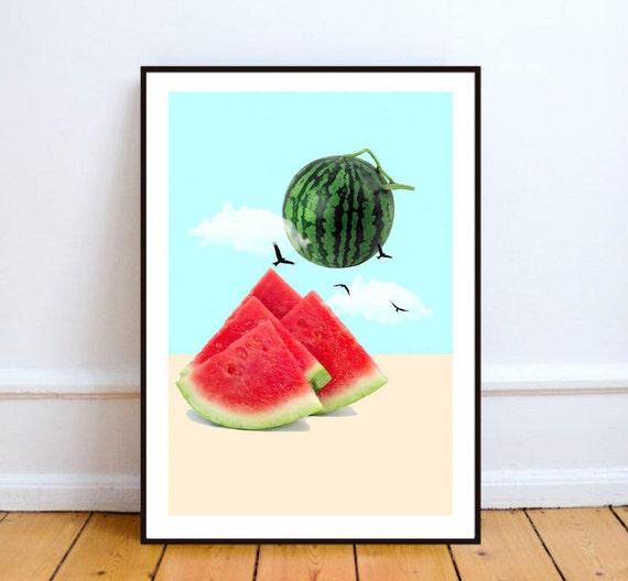 Watermelon Kitchen Decor Food Print Minimalist Art Watermelon Kitchen  Poster Surreal . Watermelon Kitchen Decor ...