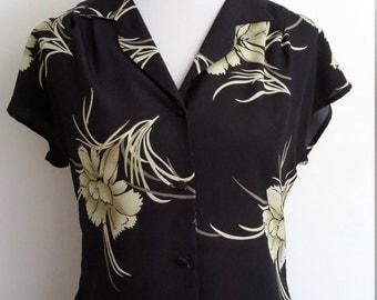 70's Hawaiian top, S, black Hawaiian top, tropical top, palm tree top, summer top, black top, vintage Hawaii top