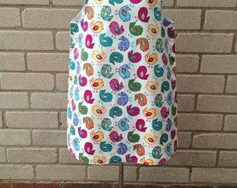 Bird Print Dress - Pinafore Dress - A-Line Dress - Girls Lined Dress