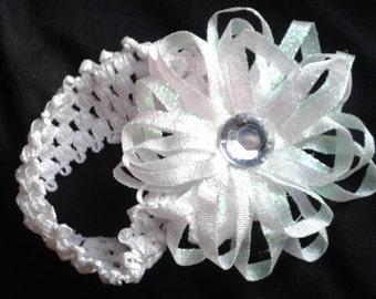 white sparkly flower headband, baby headband, sparkly baby headband, baby headband, newborn headband, shiny flower headband, unique headband