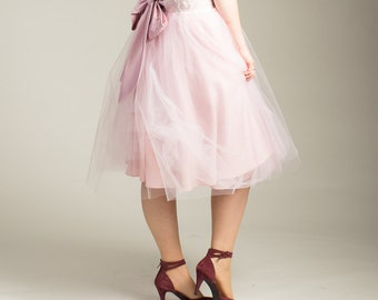 Womens Pink Tulle skirt with lace and bow waistband. other colours available. Made to order - any size