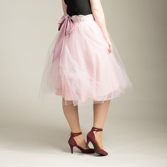womens pink tulle skirt with lace and bow waistband other
