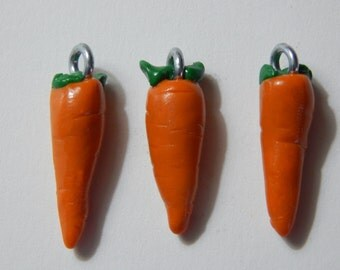 Set of 3: Orange Carrot Vegetable Charms, Beads Handmade from Polymer Clay