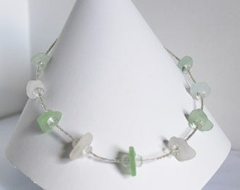White and green sea glass necklace with light green amethyst beads. Handmade necklace- beach jewelry- ocean glass necklace- gift for her