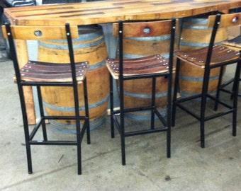 Wine Barrel and Steel Bar Stool