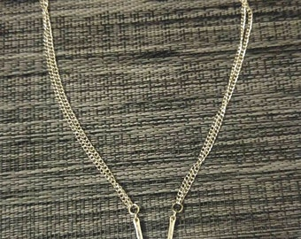 Delicate minimal silver geometric triangle double chain necklace handmade jewelry