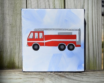 Unique Personalized handpainted Fire Truck Painting on 6x6 Canvas