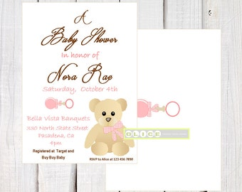 Pink Teddy Bear Invitation,  Baby Shower Invitation, Girl Baby Shower, Bear Shower,  pinks, corals and rown, Printable Invitation