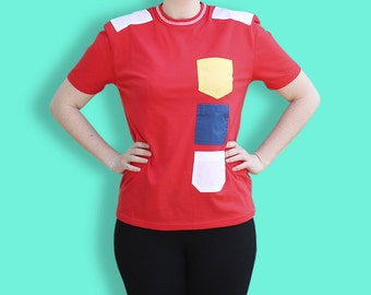 90s Multicolor Castelbajac T-Shirt - Red JCDC Tee with Yellow Blue & White Pockets - Colorful Multi pocket Top - Color Block Tee with Yokes