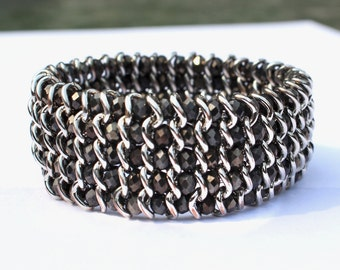 Crystal Cuff Bracelet Black and Silver