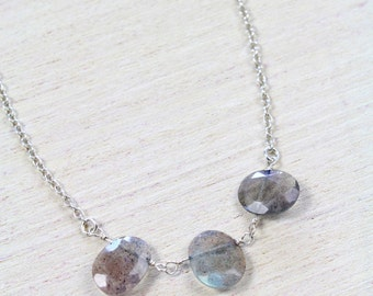 Labradorite Trio Necklace, simply delicate perfect for everyday wear