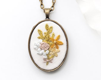 Floral Jewelry. Jewelry Floral. Floral Pendant. Embroidered Jewelry. Floral Embroidered. Floral Embroidery. Statement Jewelry. Bright Floral