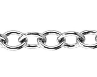 7.9 x 10mm Cable Chain By the Foot - Sterling Silver (SS) Item # 3064-3CA