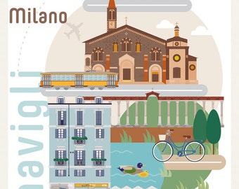 Poster Navigli Milan illustrated by Milan Icons size A3