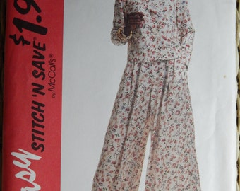 McCall's 6911 Vintage Uncut Sewing Pattern - Misses' Top and Split Skirt / Culottes - Size 8 10 12 14 - Easy Stitch N Save