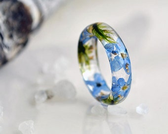 resin ring statement ring resin jewelry flower resin ring forget-me-not botanical ring real flower jewelry pressed flowers moss wedding ring