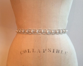 Pearl Rhinestone Beaded Bridal Sash Belt-Rhinestone Crystal and Pearl Wedding Sash Belt-Crystal Rhinestone and Pearl Bridesmaid Sash Belt