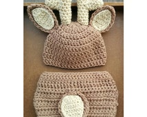 PATTERN Deer Crochet Newborn Outfit (Baby 0-3 Months) Diaper Cover and Hat