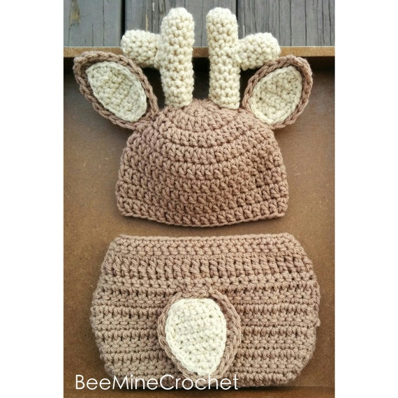 Crochet Baby Hat Patterns 0 3 Months : PATTERN Deer Crochet Newborn Outfit Baby 0-3 Months Diaper