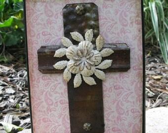 Wooden Cross, Metal Wall Cross,Decorative Wall Cross,Reclaimed Wood with Cross,Wood Wall Cross,Unique Cross