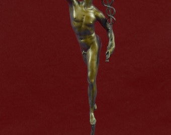 Bronze Sculpture Of A Flying Mercury, Art Deco Style Statue, Hot Cast, Decorative Art, Home Decor Figurine, Lost Wax Method,