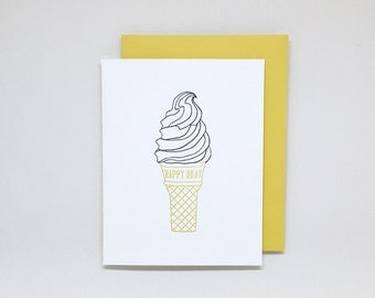 Ice Cream Birthday Card // happy birthday card, letterpress birthday card, soft serve ice cream, ice cream lover, summer birthday card