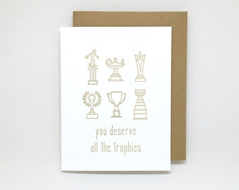 Letterpress Thank You Card: You Deserve All the Trophies // good job card, job well done, thank you card, congrats card, bon voyage