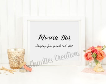 Mimosa Bar. Wedding Sign. Printable. Bridal Shower Sign. Mimosa Bar Printable. Mimosa Bar Sign Printable. Table Signs.