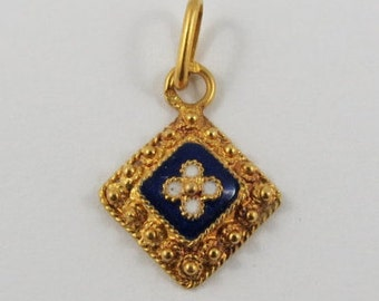 White Enamel Flower With Blue Background on a Studded Square 19K Gold Vintage Portuguese Charm For Bracelet